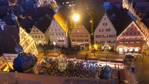 Aerial night view of Rothenburg ob der Tauber Christmas market. Rothenburg ob der Tauber weihnachtsmarkt.