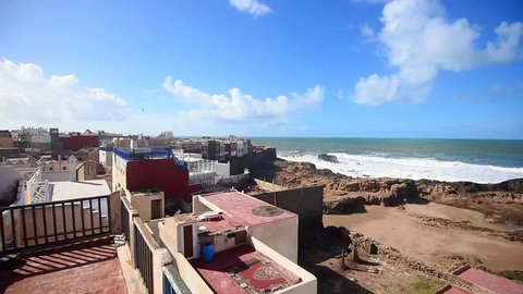 Roofs of traditional moroccan buildings in old medina - old part of city in Essaouira