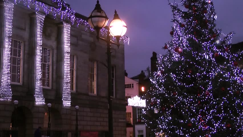 Christmas Tree and Civic Building - Shire Hall, Market Square, Staffordshire, England