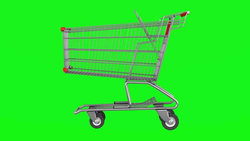 Empty shopping cart loop rotate on green chromakey background | Shutterstock HD Video #3528170