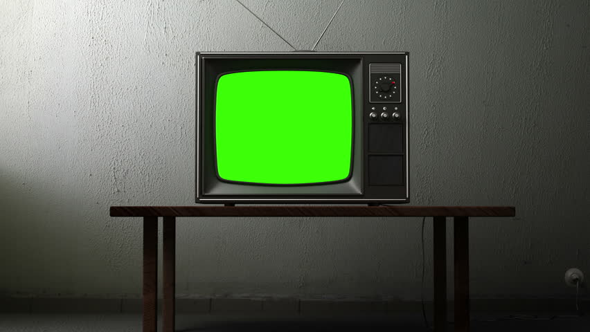 old TV with a green screen in the room, 3d animation #3534197