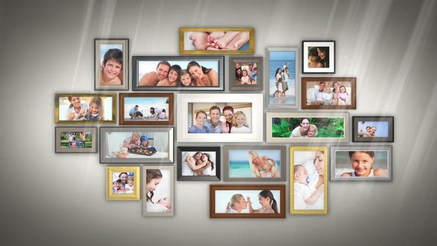 Montage of families having fun together presented in picture frames on grey wall