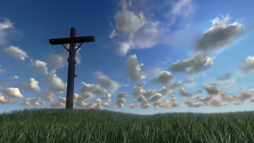 Jesus on Cross, meadow and timelapse clouds