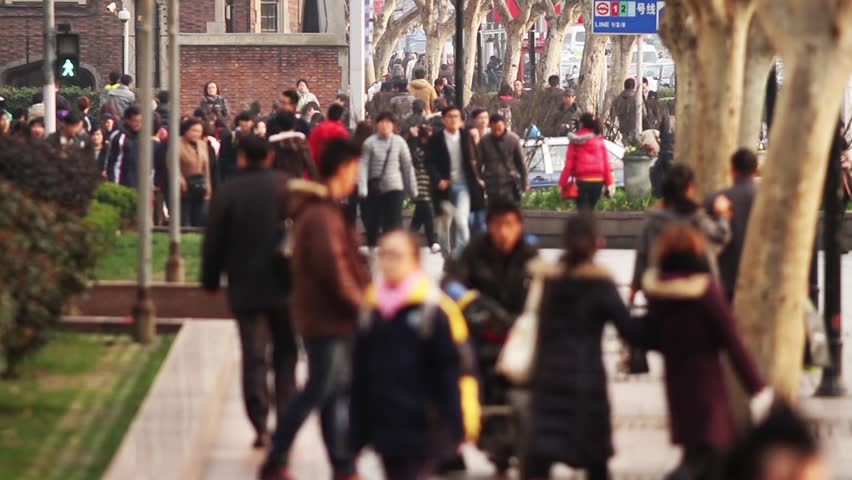 Slow Motion of Busy Street Traffic in Shanghai, China