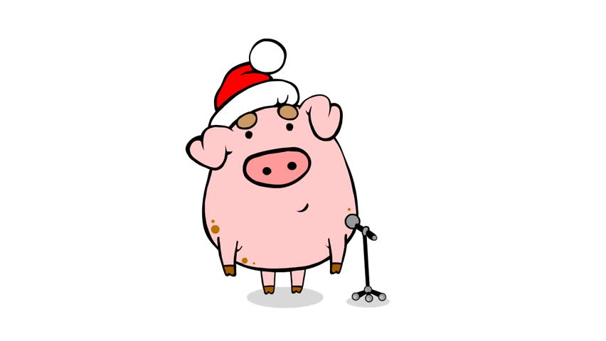 Christmas Pig.Christmas Performance From Nice Cartoon Stock Footage Video 100 Royalty Free 3580607 Shutterstock