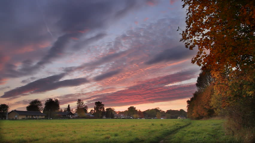 HDR Sunset in Europe. This is realtime video that has been processed using two passes of differing dynamic range to give it an HDR look (highlights and lowlights correctly exposed).