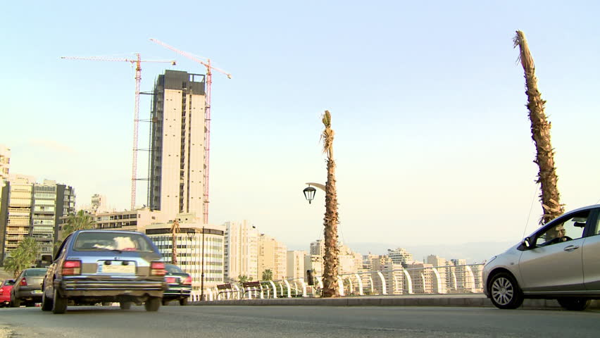 AL RAOUCHE, BEIRUT - CIRCA 2012:  Cars in traffic on Corniche in Al-Raouche