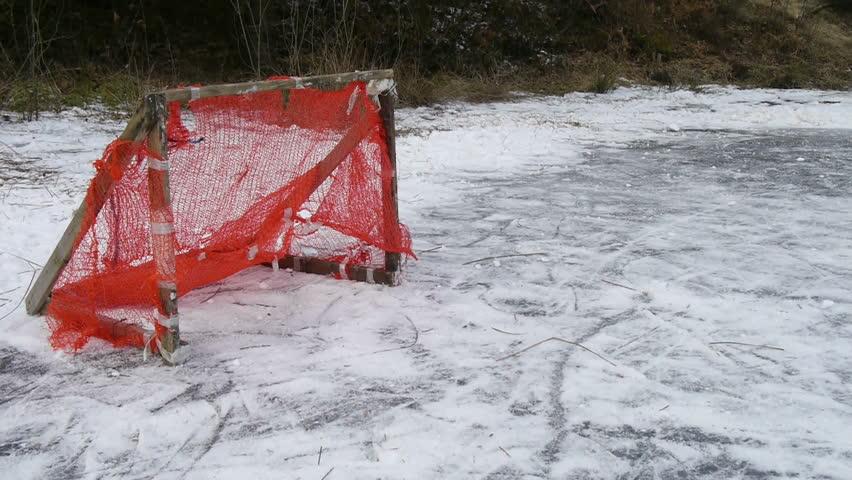 Scoring goal at hockey