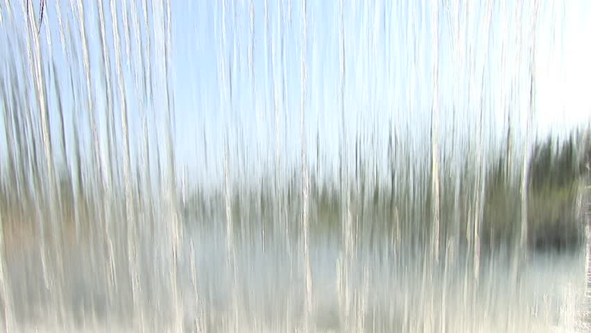 Waterfall On Glass Wall Stock Footage Video 9419441
