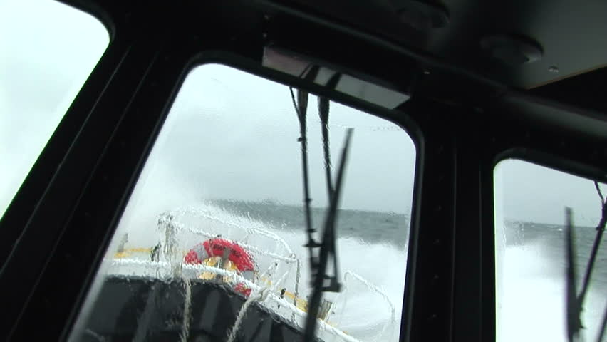 Pilot boat swaying in rough waters on the Columbia River, Oregon USA