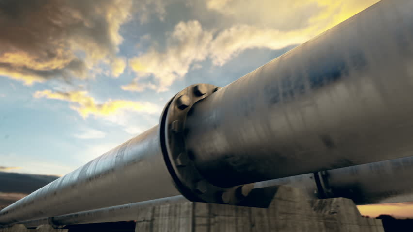 Pipeline transportation is most common way of transporting goods such as Oil, natural gas or water on long distances. Camera is slowly moving along the pipeline. Animation is loopable. #3634487