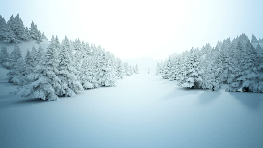 Winter snow landscape. High quality full CG animation showing hills with many pine trees covered by snow.
