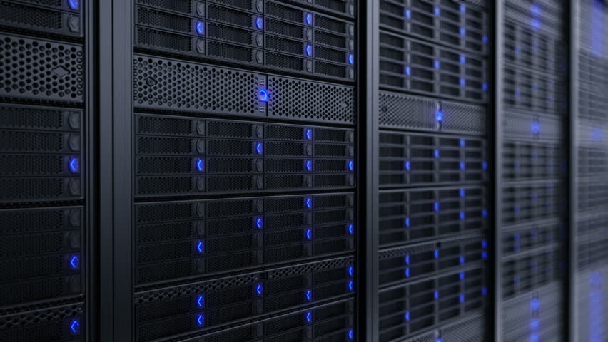 Animation presenting data servers while working. LED lights are flashing. Video can represent cloud computing, information storage, etc. or can be the perfect technology background. | Shutterstock HD Video #3634637
