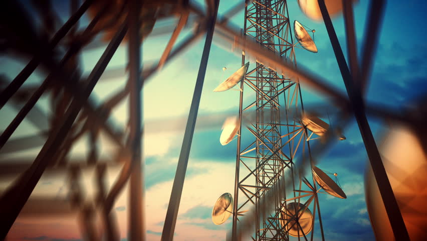 Loopable animation of endless communication tower.