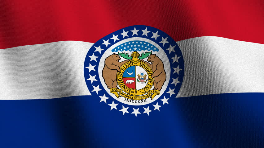 Waving Flag Of The Us State Of Missouri With The Official