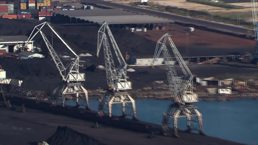 Aerial shot of a Cargo port