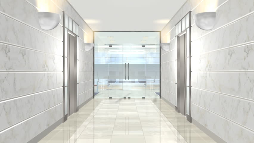Office entrance animation with door opening (made with 3ds max)