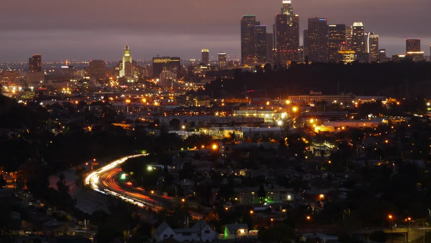 Downtown Los Angeles Night Motion Time Lapse