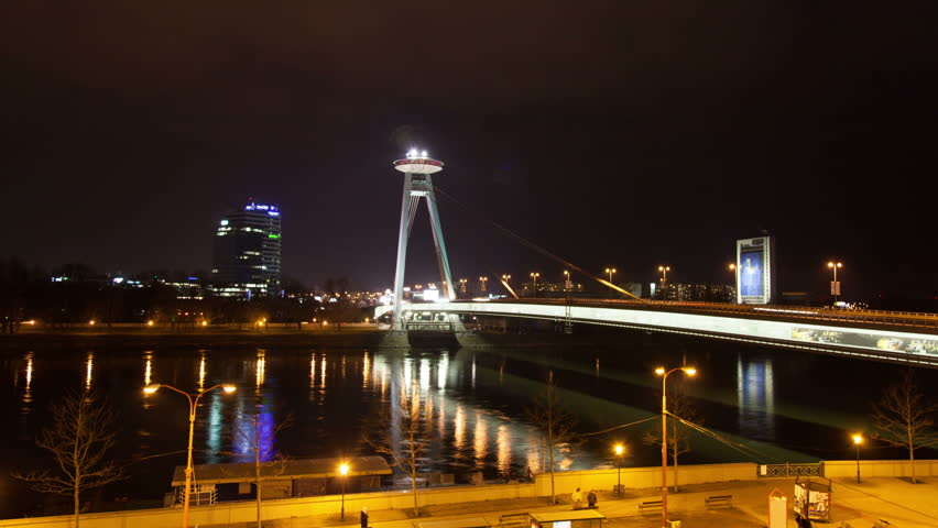Night traffic on the bridge across the Dunai in Bratislava, Slovakia