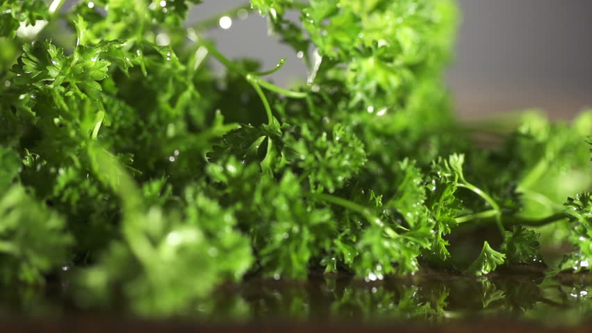 Fresh organic parsley with knife on wooden cutting board. Macro with shallow dof.