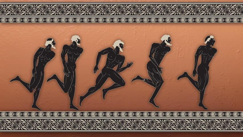The Greek figure - sportsmen runners plus alpha the channel