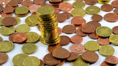 Euro coins piled up