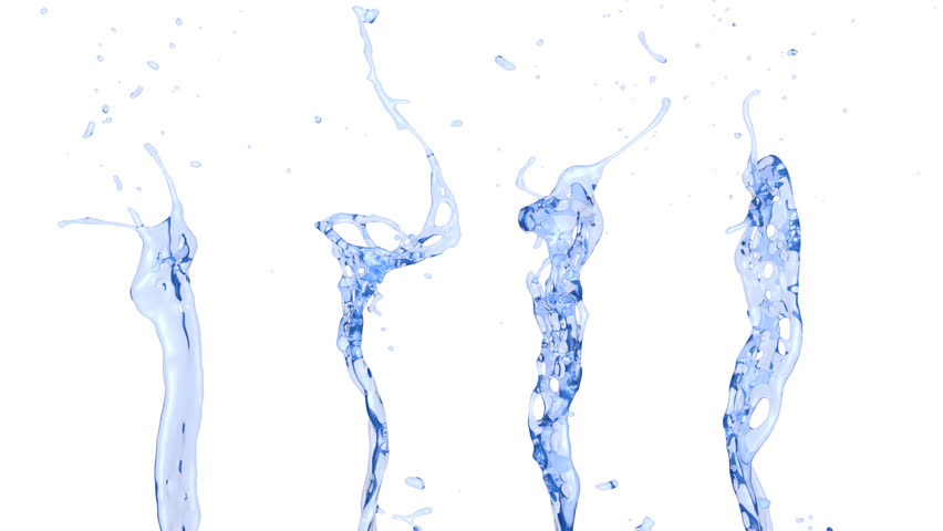 Fresh Water Splashes Seamless In Slow Motion With Alpha Channel FULL HD