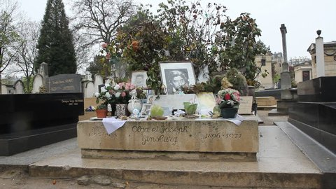 PARIS, FRANCE – APRIL 8th: Grave of Serge Gainsbourg on April 8th, 2012. He is buried in the Jewish lot of the Montparnasse Cemetery, in Paris.