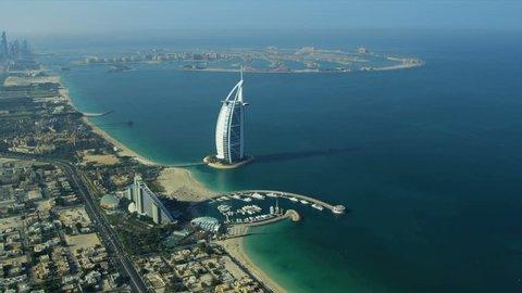 DUBAI, UNITED ARAB EMIRATES - November 18, 2012:  Aerial view Dubai coastline, Burj Al Arab, Jumeirah Beach Hotel