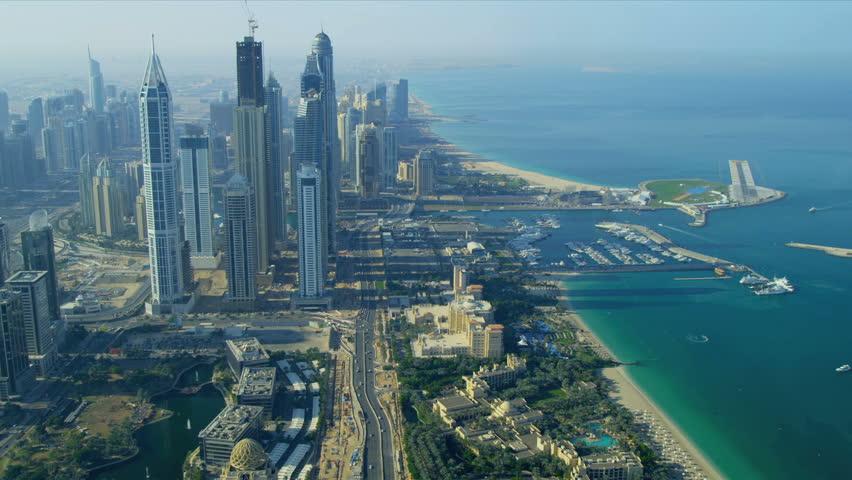 Stock Video Clip Of Aerial View Dubai City Coastline