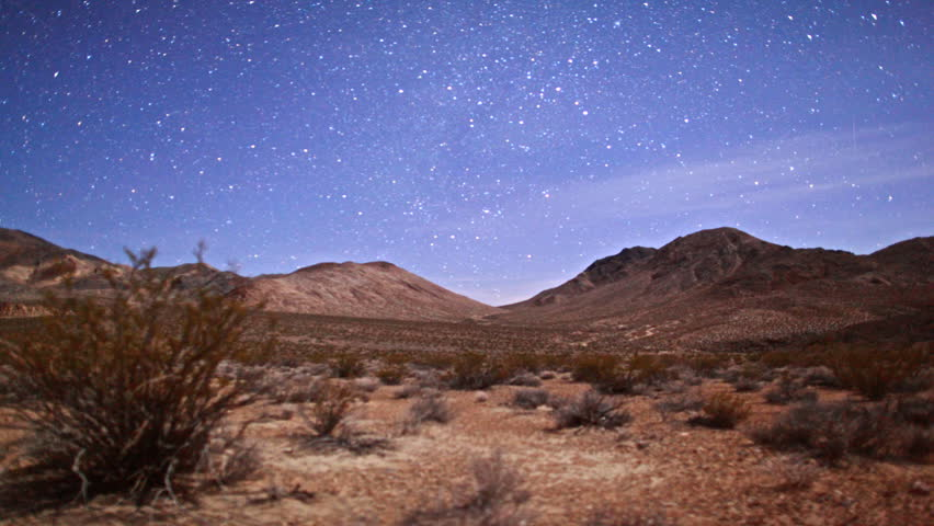 Amazing Death Valley National Park Desert Moonlit Timelapse Under Galaxy Stars.
