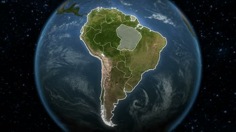 Loopable spinning Earth with South American country maps. Each country border freeze a few seconds to let you edit and change the order or duration. Elements of this video furnished by NASA.