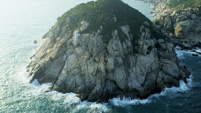 Aerial view of coastline inlets nr Hong Kong, South China Sea, China, Asia, RED EPIC