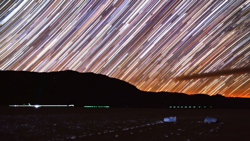 Stunning Star Trails over Racetrack Playa Rocks in Death Valley National Park