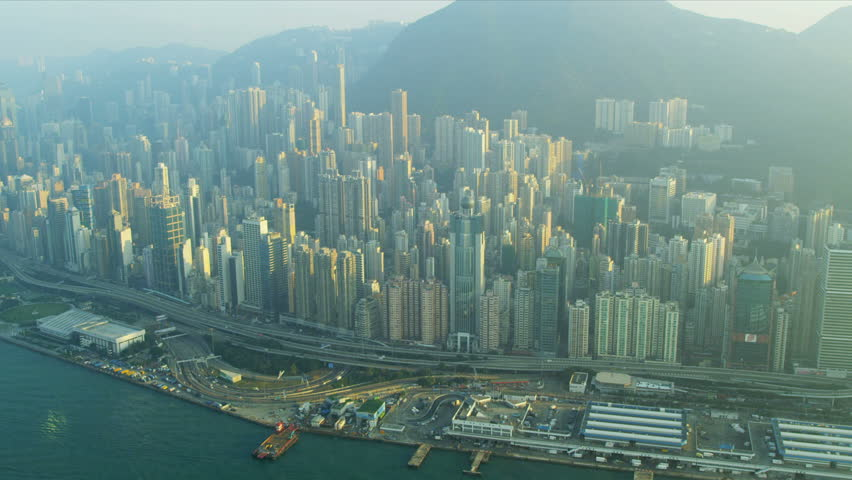 Aerial view Hong Kong central Victoria Peak and waterfront, China, Asia, RED EPIC | Shutterstock HD Video #3741137