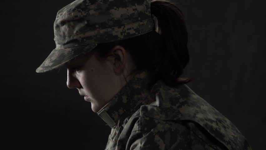 Military woman struggling with Post Traumatic Stress Disorder gets support from fellow soldier
