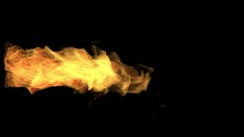 fire thrower, flame jet isolated on black, white smoke, alpha channel, hd, 1920x1080