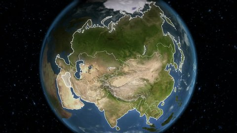 Spinning Earth with Asia country maps. Loopable. Each country border freeze a few seconds to let you edit and change the order or duration.