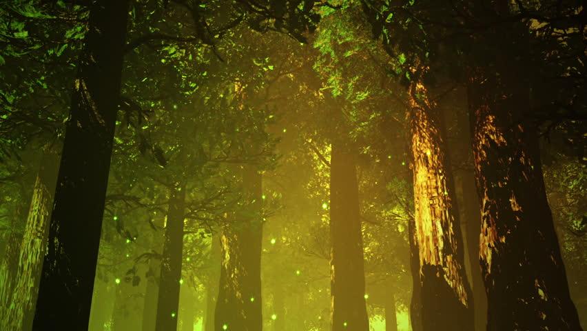 Deep Forest Fairy Tale Scene Fireflies 3D render   Shutterstock HD Video #3830978