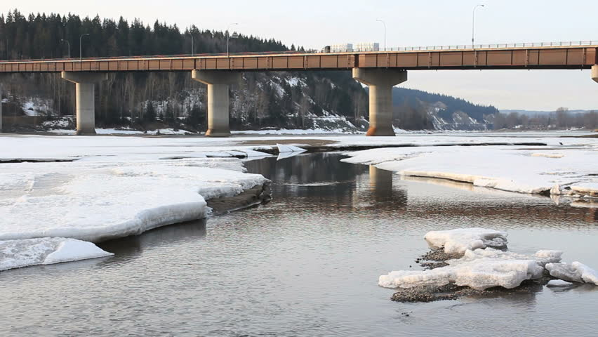 Highway Bridge, Prince George, British Columbia. The Yellowhead Bridge carrying Highway 16, the Yellowhead Highway, over the Fraser River. Prince George, British Columbia, Canada.