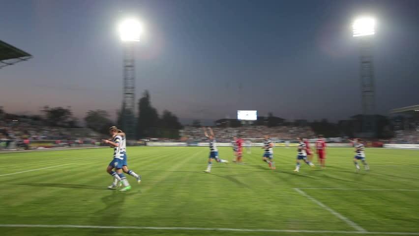 SEVASTOPOL, UKRAINE - MAY 2, 2013: Penalty kick. Goal!!! Soccer match between Sevastopol - STEEL. Stadium of Sevastopol.