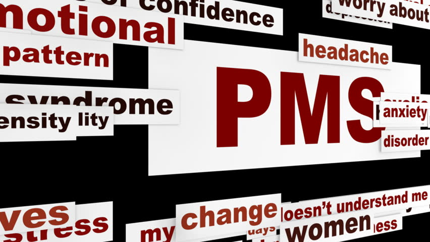 PMS women's problems medical message. Premenstrual syndrome warning animation