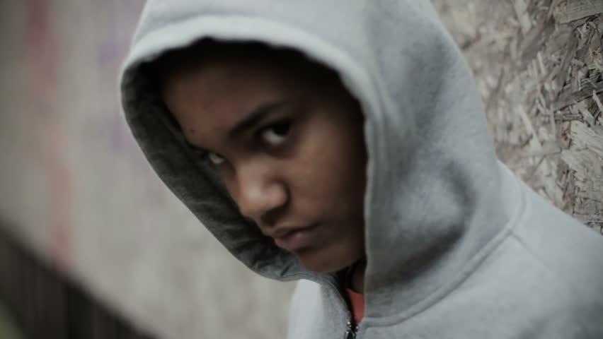 Teenage boy in a hooded top