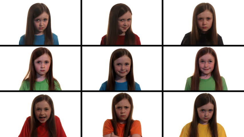 Emotions: Montage of a little girl expressing 9 different emotions - embarrassment, mischief, crying, sadness, laughter, pride, happiness, sulking, fear | Shutterstock HD Video #3850745