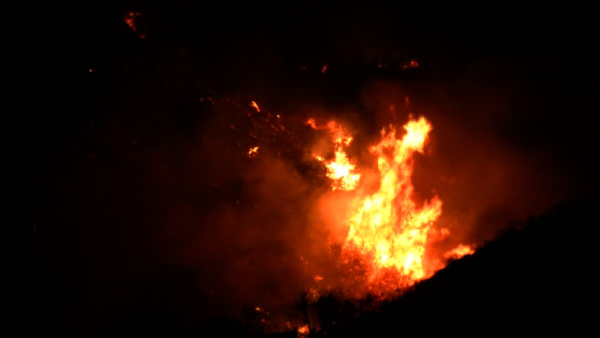 Southern California Fires at Night in a valley | Shutterstock HD Video #3856388