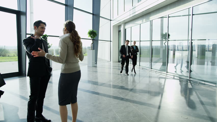 An attractive businessman and businesswoman are having a conversation in a bright modern office building. Others workers in the building walk past them as they chat. | Shutterstock HD Video #3893447