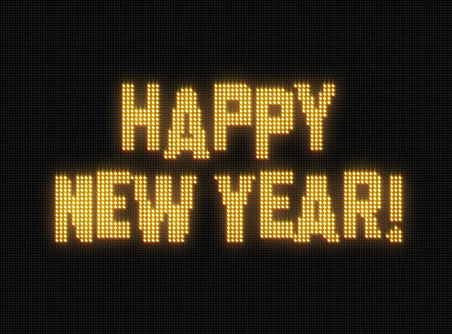 Happy New Year! spelled out on Jumbotron screen