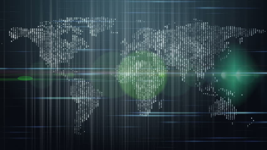 Technology map with continents and lights, loop HD 1080p | Shutterstock HD Video #3904667