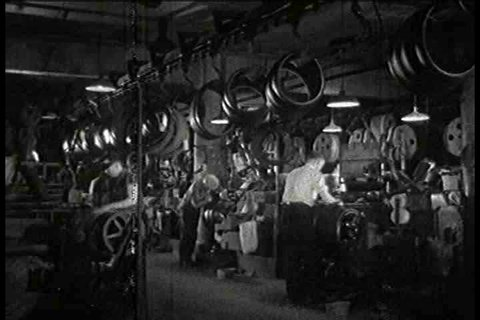 1930s - Inside a tire factory in 1935.