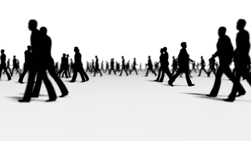 Anonymous crowd side Silhouette with one red character